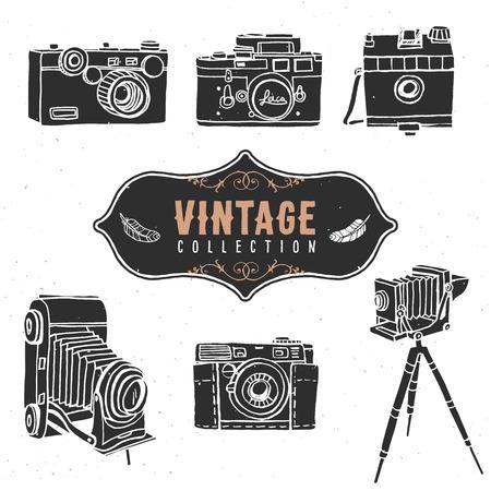 Vintage retro oude camera collectie. Vector Illustratie