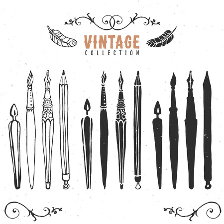 pen on paper: Vintage retro old nib pen brush collection.