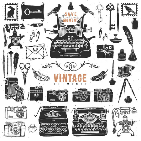 Vintage retro old things collection. Vector