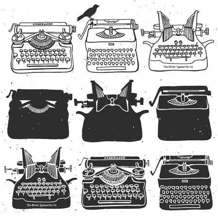 typewriter machine: Vintage retro old typewriter collection.