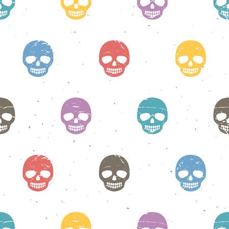 Vintage sugar skulls. Seamless pattern on white background. Hand drawn vector illustration. Vector