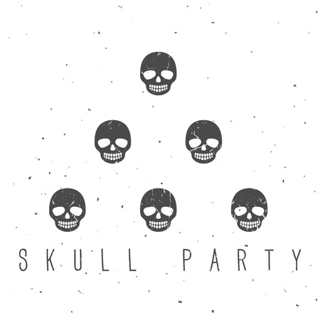Vintage ink skulls on white background. Hand drawn vector illustration. Vector