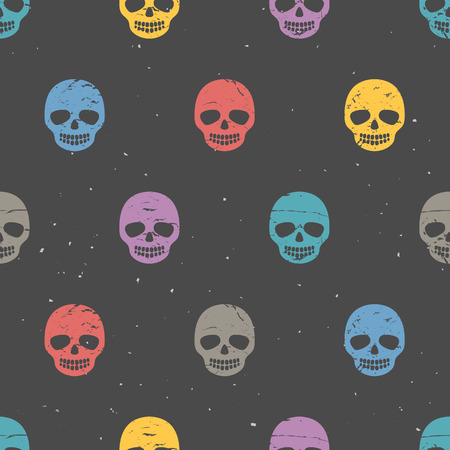 Vintage sugar skulls. Seamless pattern on dark background. Hand drawn vector illustration.