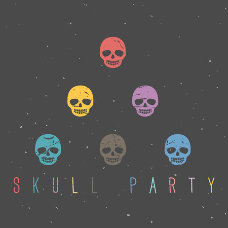 Vintage sugar skulls on dark background. Hand drawn vector illustration. Illustration