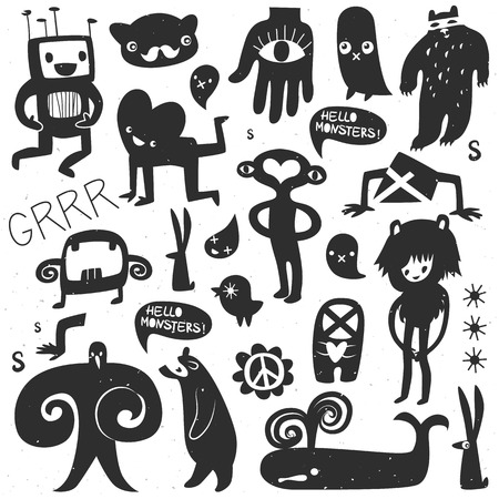 Vintage ink monsters and freaks. Hand drawn vector illustration.