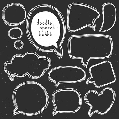Vintage doodle speech bubbles. Different sizes and forms. Hand drawn vector illustration. Illustration