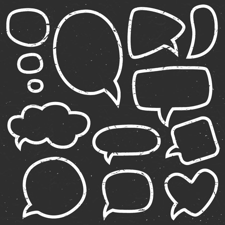 socialize: Vintage chalk speech bubbles. Different sizes and forms. Hand drawn vector illustration.