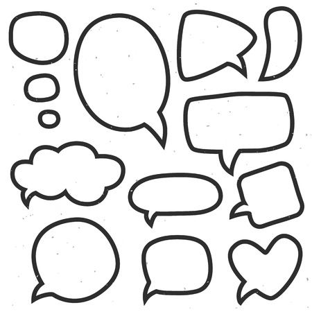 socialize: Vintage ink speech bubbles. Different sizes and forms. Hand drawn vector illustration. Illustration