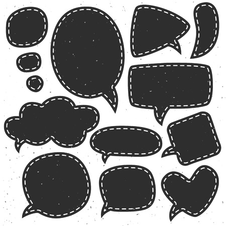 Vintage ink speech bubbles. Different sizes and forms. Hand drawn vector illustration. Illustration