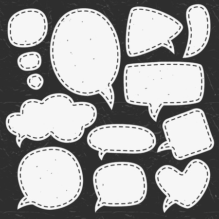 dialog balloon: Vintage chalk speech bubbles. Different sizes and forms. Hand drawn vector illustration.