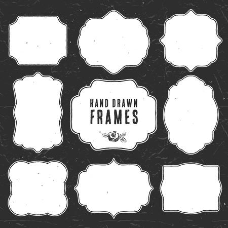 simple border: Set of vintage chalk frames and labels. Hand drawn vector illustration. Vol.3 Illustration