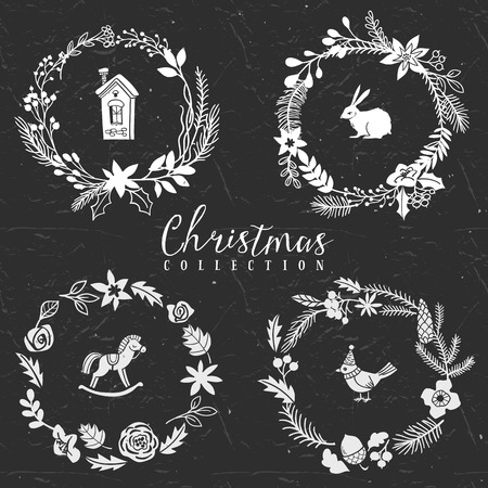 Chalk decorative greeting wreaths. Christmas collection. Hand drawn illustration. Design elements. Vol.1