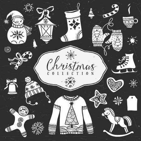 Chalk set of decorative festive illustrations. Christmas collection. Hand drawn illustration. Design elements. Vol.1 Illustration