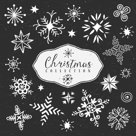 Chalk decorative snowflakes. Christmas collection. Hand drawn illustration. Design elements.