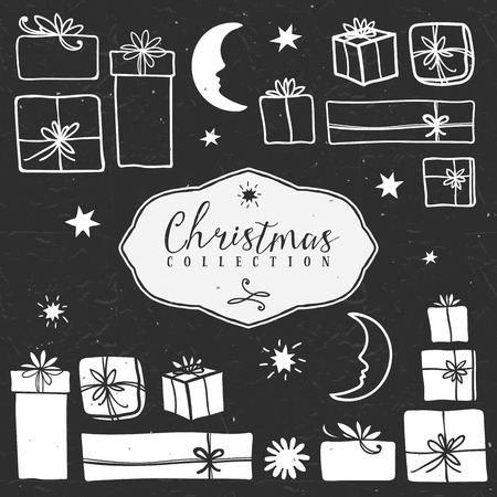 Chalk gift boxes. Christmas collection. Hand drawn illustration. Design elements. Vol.1 Illustration