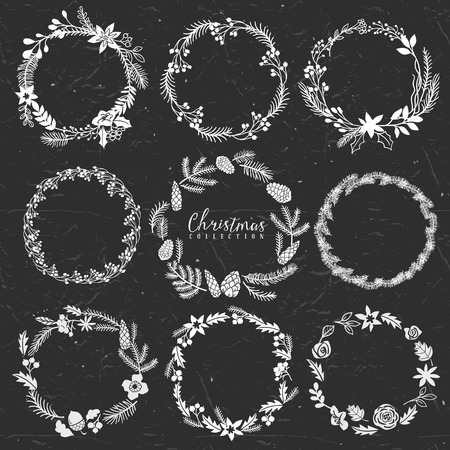 Chalk decorative greeting wreaths. Christmas collection. Hand drawn illustration. Design elements. Vol.3 Vector
