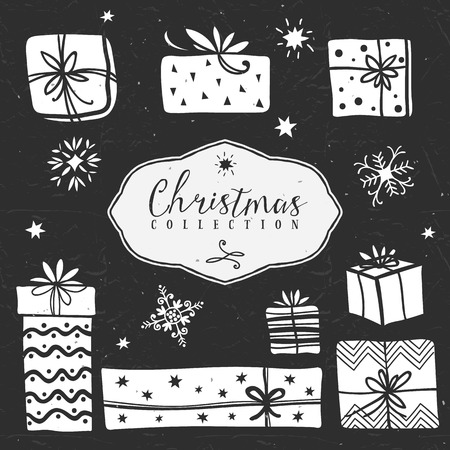 Chalk gift boxes. Christmas collection. Hand drawn illustration. Design elements. Vol.2