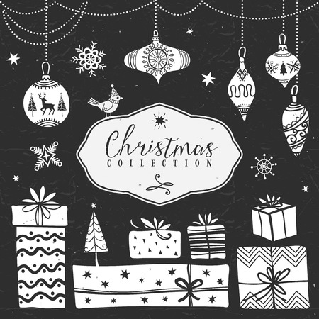 Chalk gift boxes and tree balls. Christmas collection. Hand drawn illustration. Design elements. Vol.3