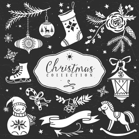Chalk set of decorative festive illustrations. Christmas collection. Hand drawn illustration. Design elements. Vol.4