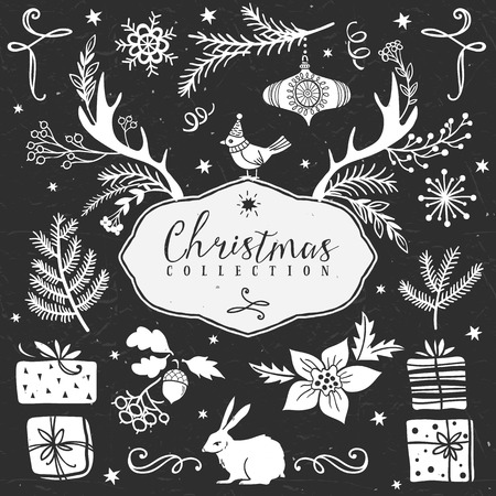 Chalk set of decorative festive illustrations. Christmas collection. Hand drawn illustration. Design elements. Vol.5 Vector
