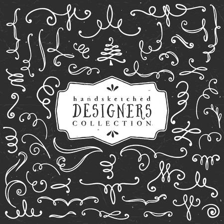 Chalk decorative curls and swirls. Designers collection. Hand drawn illustration. Design elements. Vector