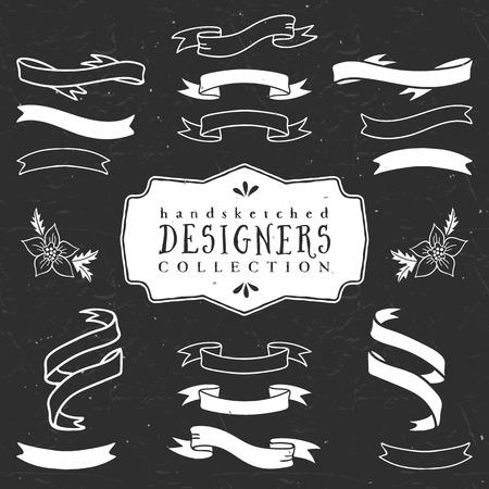 Chalk decorative ribbon banners. Designers collection. Hand drawn illustration. Design elements.