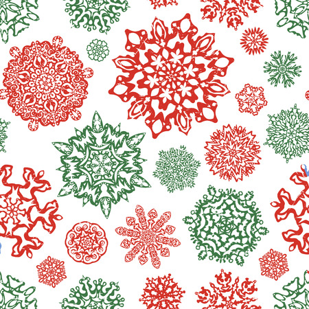 Seamless snowflake pattern in traditional christmas colors. Hand drawn vector on white background. Template for christmassy winter design.