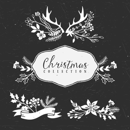 Chalk decorative greeting bouquets. Christmas collection. Hand drawn illustration. Design elements. 矢量图像