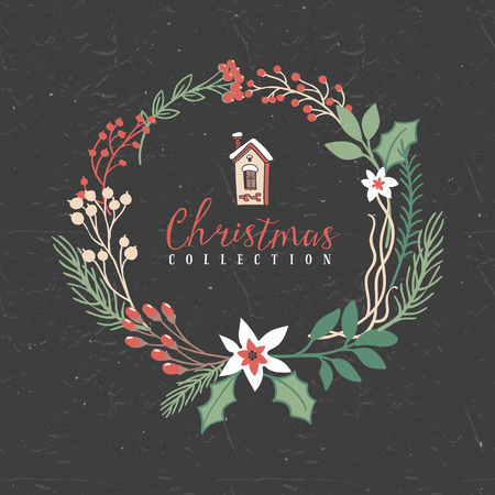 Decorative greeting wreath with house. Christmas collection. Hand drawn illustration. Design elements.