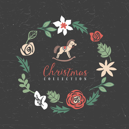 Decorative greeting wreath with hobbyhorse. Christmas collection. Hand drawn illustration. Design elements.