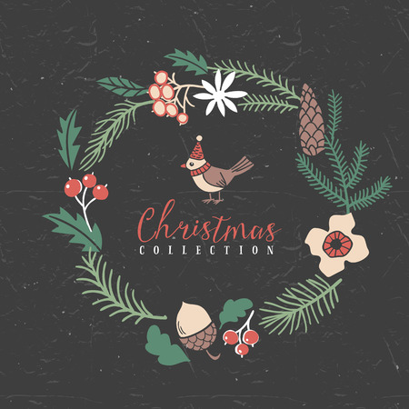 Decorative greeting wreath with bird. Christmas collection. Hand drawn illustration. Design elements.