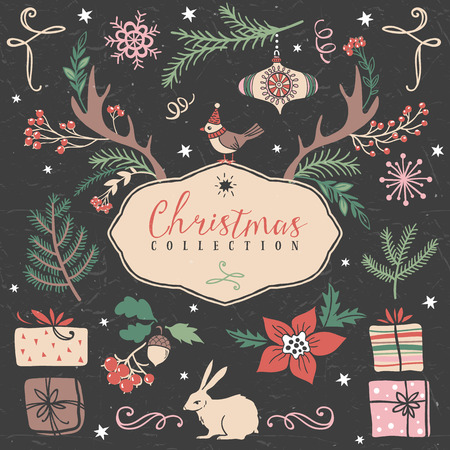 holly berries: Christmas set of hand drawn festive illustrations. Design elements.