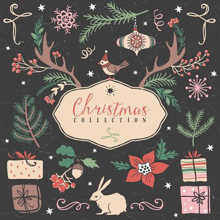 gift box: Christmas set of hand drawn festive illustrations. Design elements.