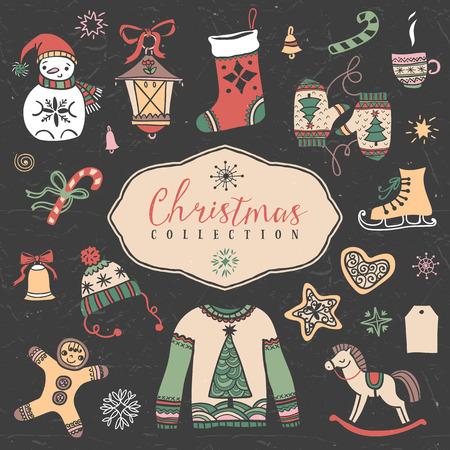 Christmas set of hand drawn festive illustrations. Design elements.