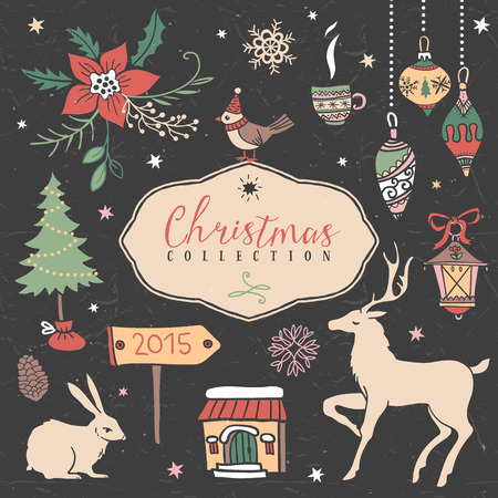 Christmas set of hand drawn festive illustrations. Design elements. Vector