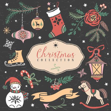 手描きお祝いイラストのクリスマス セットです。デザイン要素です。 写真素材 - 33529159