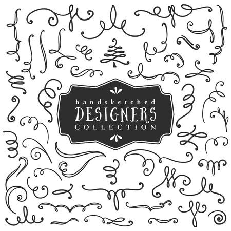 装飾的なカールと渦巻き。デザイナーのコレクションです。手描きのイラスト。デザイン要素です。