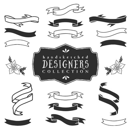 Ink decorative ribbon banners. Designers collection. Hand drawn illustration. Design elements.