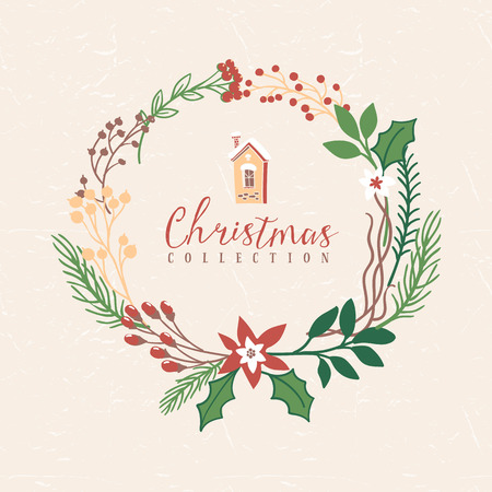 Christmas greeting wreath with house. Hand drawn illustration. Design elements.
