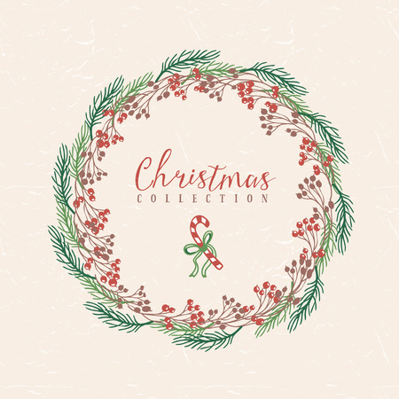 Christmas greeting wreath with candy. Hand drawn illustration. Design elements.