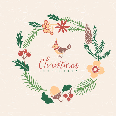 Christmas greeting wreath with bird. Hand drawn illustration. Design elements.