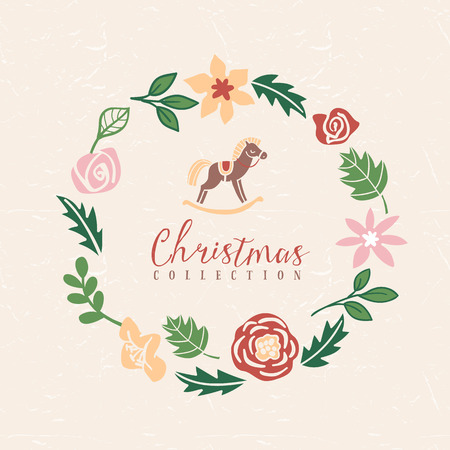 Christmas greeting wreath with hobbyhorse. Hand drawn illustration. Design elements. Vector