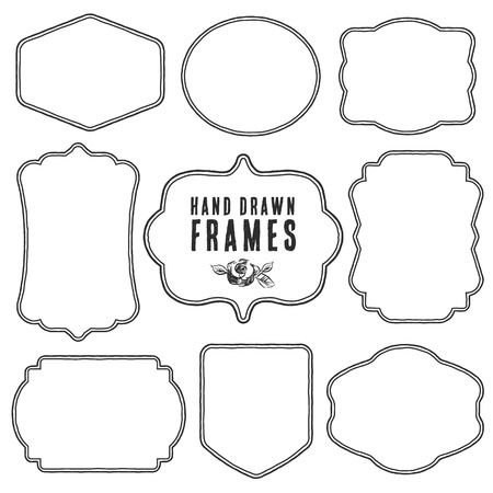 Set of vintage blank frames and labels. Hand drawn vector illustration. Vettoriali