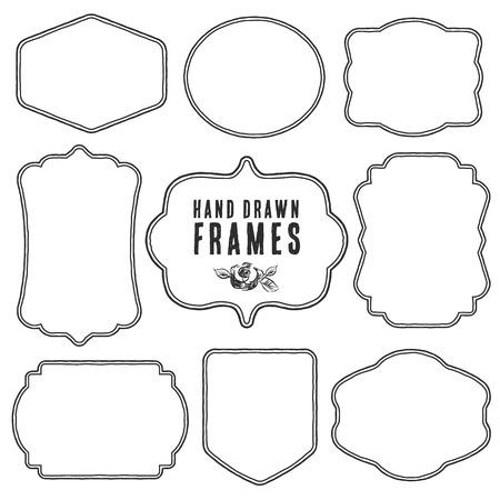 Set vintage lege frames en labels. Hand getekende vectorillustratie. Stock Illustratie