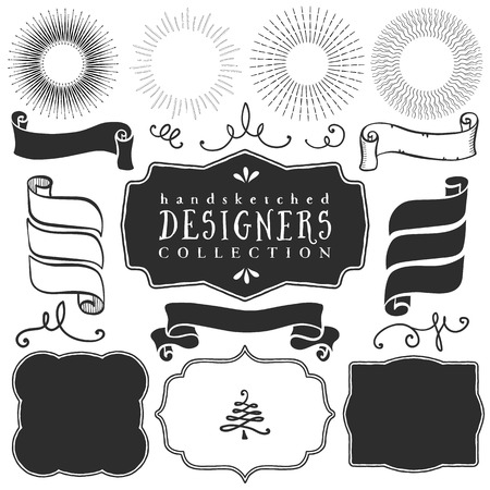 bursting: Decorative vector templates and elements for design of logos and badges in vintage style.