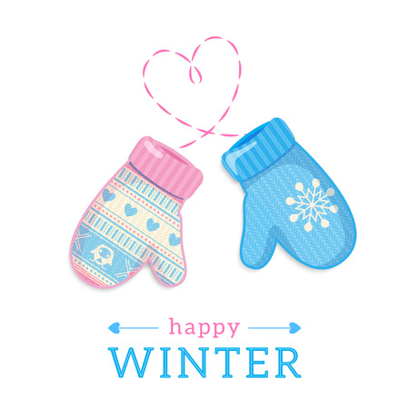 Cozy mittens on knitted blue background with Christmas lights borders. Winter design. Vector illustration.