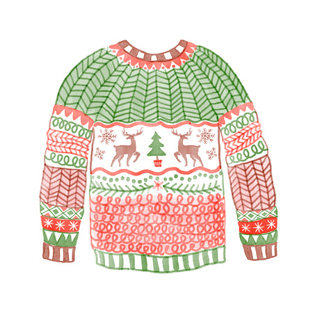 Watercolor cozy sweater with christmas deer. Hand drawn illustration.