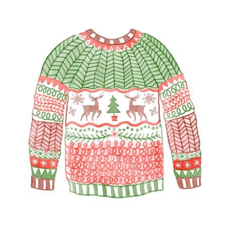 Akwarela przytulny sweter z christmas jelenia. Ręcznie rysowane ilustracji.