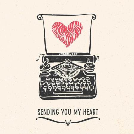 drawing: Valentines day greeting card with lettering, typewriter, heart and other decorative elements. Vector hand drawn illustration.