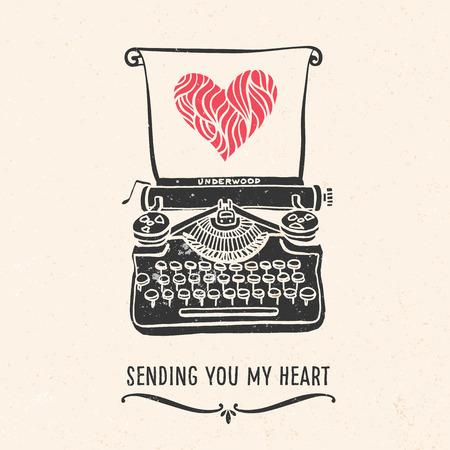 Valentinstag Grußkarte mit Schriftzug, Schreibmaschine, Herz und andere dekorative Elemente. Vector Hand gezeichnete Illustration.